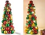 Britesta Weihnachtskegel: LED-beleuchtete Weihnachtsbaum-Pyramide mit bunten Kugeln, 30 cm (Kugelpyramide)