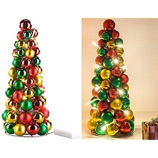 Britesta-Dekopyramide-LED-beleuchtete-Weihnachtsbaum-Pyramide-mit-bunten-Kugeln-30-cm-Weihnachtskegel