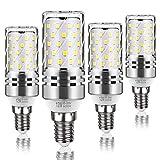Tebio LED Mais Glühbirne, E14, 12W, entspricht 100 W Glühlampe, 6000 K Kaltweiß, 1200lm, CRI>80 +, kleine Edison-Schraube, nicht dimmbar Kandelaber LED Glühlampen(4 PCS)