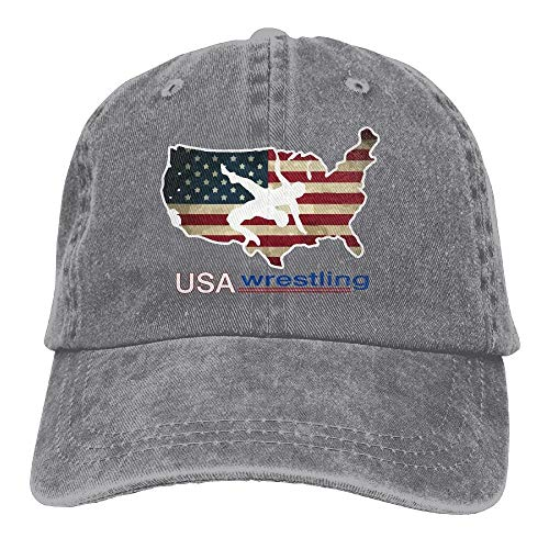 jingqi Mens Womens Baseball Cap Hat USA Wrestling Washed Jean Snapback Cap for Men