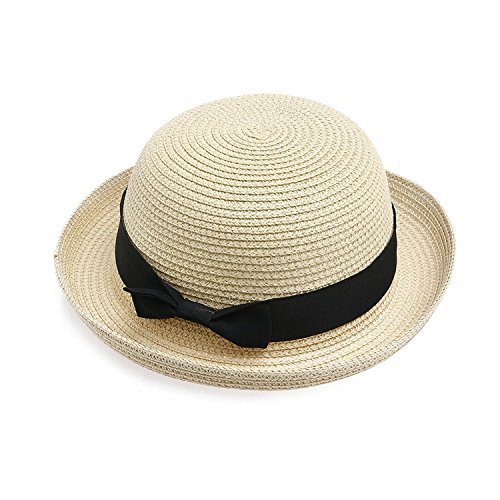 WINOMO Hand Made Women's Girls Wide Brim Dome Straw Summer Sun Hat Bowler Beach Cap