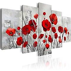 Idea Regalo - BD XXL murando - Quadro 200x100 cm - 5 Parti - Quadro su tela fliselina - Stampa in qualita fotografica - Fiori papavero b-A-0001-b-n