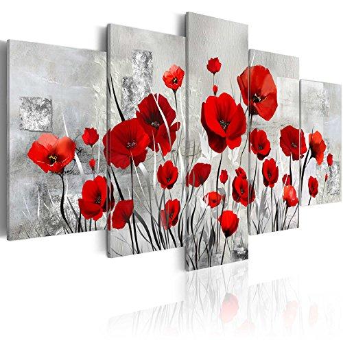 murando Quadro 200x100 cm 5 Pezzi Stampa su Tela in TNT XXL Immagini Moderni Murale Fotografia Grafica Decorazione da Parete Fiori Papavero b-A-0001-b-n