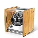 Watch Winder Smith Remontoir à Montres Automatique pour 2 montres,Rolex Couple Taille,100% Artisanat Conception de brevet en bois de bambou,Moteur japonais ultra-silencieux à AC ou à piles