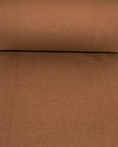 Excellenter Glitzer Bündchen Stoff Fein Ripp Uni braun mit gold Glittereffekt als Schlauchware | Maße: 25 cm x 37 cm (doppelt 74 cm) | 1A ÖKO-TEX Qualität Standard | (Pullover Baumwolle Feine)