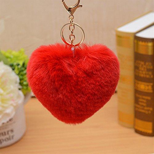 NawaZ Funny und Fashion Key Dekoration Herzform Plüsch Ball Schlüsselanhänger Anhänger Plüsch Puppe Schlüsselanhänger Keychain (rot)