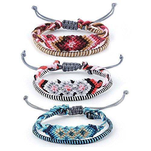 CheersLife 3 Pcs Freundschaft Armband Seil bunte Charme Armbänder Geflochtene Armbänder für Damen Mädchen Handgemachte String Schmuck Einstellbar