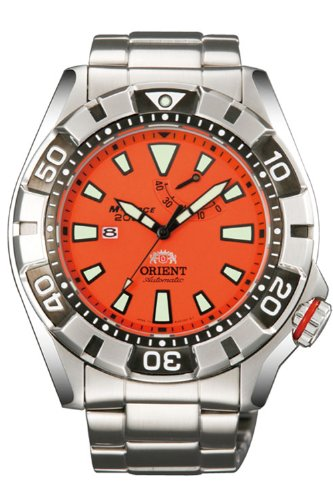 Orient Men's M-Force 46mm Steel Bracelet & Case Sapphire Crystal Automatic Orange Dial Watch SEL03002M0