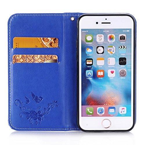 Ekakashop Custodia iphone 6 , Cover iphone 6S, Elegante borsa Custodia in Pelle Protettiva Flip Portafoglio libro Case Cover per Apple iphone 6 6S 4.7 pollice / con Carte Slot / Chiusura Magnetica / f Blu