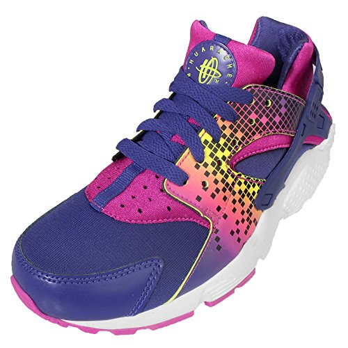 Nike Huarache Run Print (GS), Chaussures de Running Entrainement Fille, Violet Noir / Rose (Nght Dp / Dp Nght-Fr Pnk-BRGHT C)