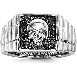 DIAMOND2DEAL INC Plata de Ley 925 con diseño de diamante negro para hombre