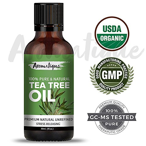 Tea Tree Oil For Face 100% Pure,Therapeutic Grade Tea Tree Essential Oil for Skin Acne, Hair from Aromatique (USDA Certified Organic) (30ml)