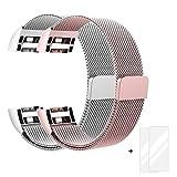 Fitbit Charge 2 Armband, Milanese Edelstahl Handgelenk Ersatzband Armbänder mit Magnet-Verschluss für Fitbit Charge2 Roségold + Silber + Bonus 2 Displayschutzfolie by Fun Sponsor