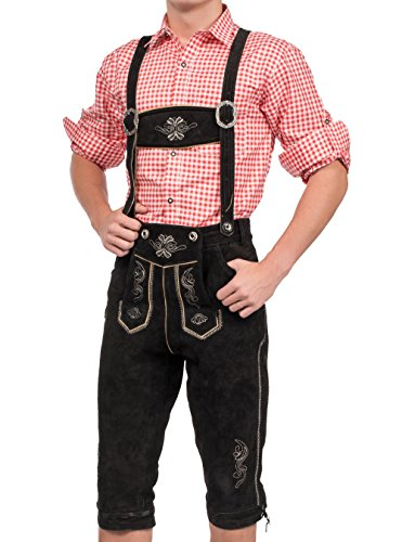 Herren Trachten Lederhose Kniebundhose inklusive Träger in verschiedenen Farben, Trachtenlederhose (56, Schwarz)