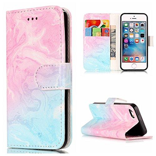 iPhone 5/5S Coque, Voguecase Étui en cuir synthétique chic avec fonction support pratique pour Apple iPhone 5 5G 5S SE (Papillons bleu 17)de Gratuit stylet l'écran aléatoire universelle marbre-bleu pink