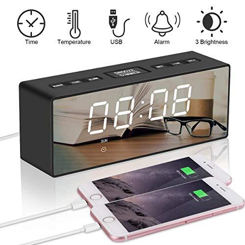 Digital Wecker FM Radio Uhr LED Spiegel Display Dual Alarm Snooze Funktion Helligkeitsdimmer FM Radio Dual Time (12/24) Modus Zeit Temperatur Wochenanzeige mit 2 USB Ladeports für Handy