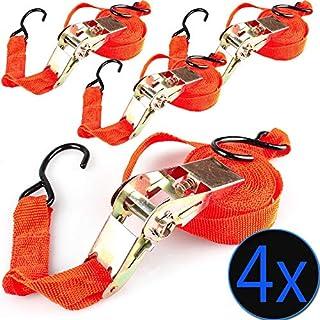 nxtbuy 4X Universal Spanngurte mit Ratsche - Ratschengurte mit 5 Meter Länge und 25 mm Breite - Zurrgurte in Orange