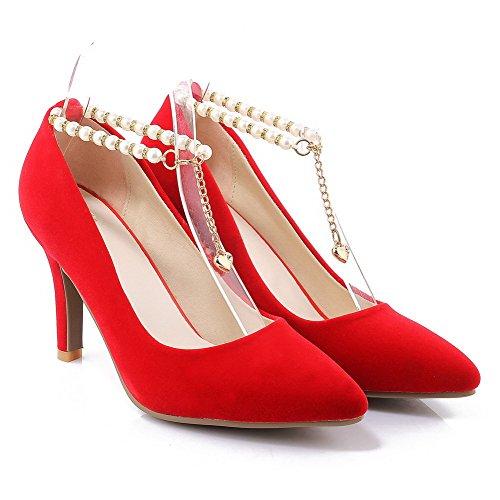 VogueZone009 Donna Punta Chiusa Scarpe A Punta Fibbia Plastica Puro Tacco A Spillo Ballerine Rosso