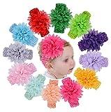 12 diademas de colores surtidos con flores elásticas para el pelo, turbante y ganchillo, accesorios para el pelo para recién nacido, bebé, niñas, niños pequeños y niños pequeños