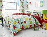 Lifestyle Produktion® New Multi Design Alice _ GEO _ Pop _ Ananas _ botanical- Tutti Fruiti bedruckt Wende Polycotton Bettwäsche-Sets Betten Kopfkissen, Tutti Fruiti, Einzelbett