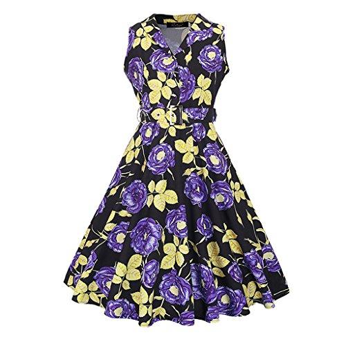 MNBS Femme Robes Vintage Classique 1950S Style Ourlet Revers Robe A-ligne Violet