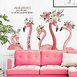 Stickers muraux papier peint flamant rose autocollant de mur autocollant rénovation de la chambre décoration créative chambre amovible papier peint en pvc