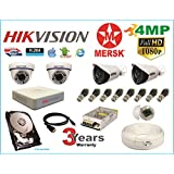 Hikvision 4 Ch Turbo HD Dvr and Mersk Full HD (4MP) CCTV Camera Kit with All Required Accessories (2 TB Hard Disk) Note : No Installation Service