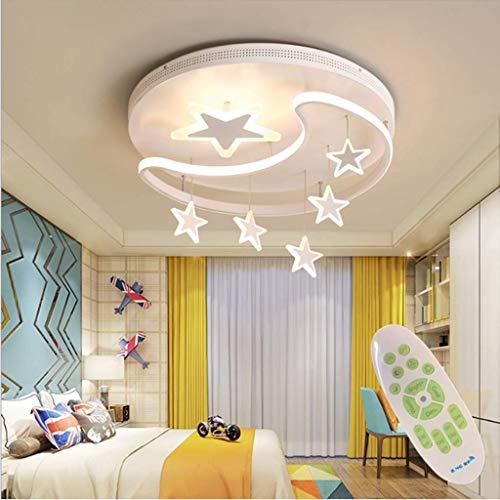 XinZe Kinderlampe Schlafzimmer Deckenleuchte Deckenlampe Pendelleuchte Dimmbar Mit Fernbedienung Moderne Led Kreative Weiß Eisen Acryl Sterne Mond Wolke Kinderzimmer Dekoration Hängelampe,Weiß,42cm