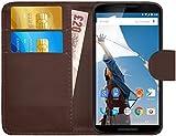 G-Shield Hülle für Google Nexus 6 Klapphülle mit Kartenfach - Braun