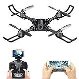 FSTgo einklappbare Drohne mit Fernbedienung, FPV/VR WLAN, Quadcopter 2,4 GHz, 6-Achsen Gyro, 4CH Helikopter mit Kamera, Flugzeug, Video, Zeitübertragung, Ready to Fly, Schwarz