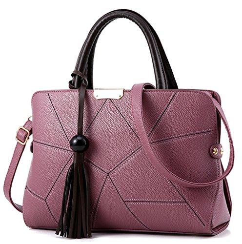 Xinmaoyuan Borse donna Lychee borsette Pu Borsa da donna grande pacchetto di Capacità sacchetto con striping Viola