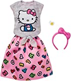 Original Barbie Mode, Kleider Set - FKR68 Hello Kitty Outfit Shirt, Rock, Haarreif und Armband
