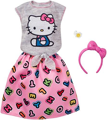 Original Barbie Mode, Kleider Set - FKR68 Hello Kitty Outfit Shirt, Rock, Haarreif und Armband