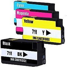 Jalee 4 paquetes Cartuchos Reemplazo para HP 711 HP711 Compatible cartuchos de tinta para impresora HP designjet T120 Series, HP designjet T520 Series (1 Negro, 1 Cian, 1 Magenta, 1 Amarillo)