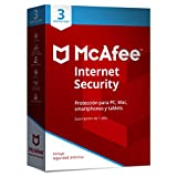 McAfee Internet Security 2019 - Antivirus, PC/Mac/Android/Smartphones, 3 Dispositivos, Suscripción de 1 año