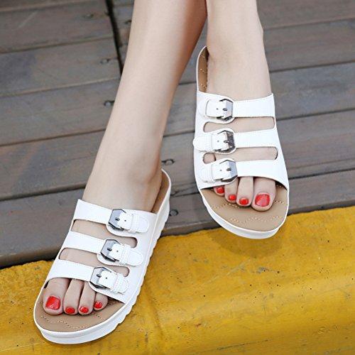 Neue Sommer Damen Dicke Sohle Flach Offene Zehen Outdoor Lässige Bequeme Slippers Metallschnalle Sandalen Weiß
