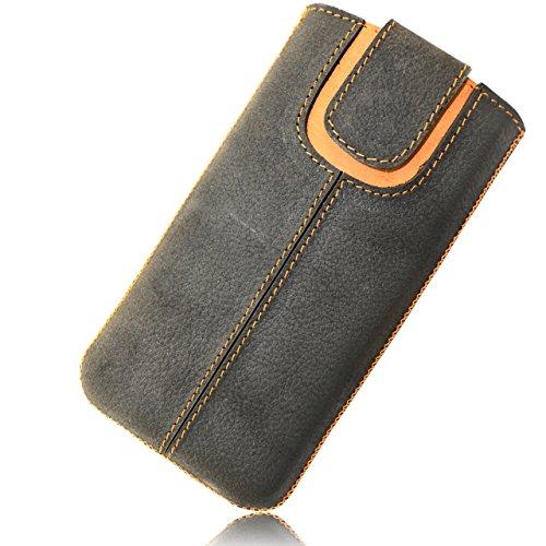 OrLine Handytasche für Alcatel Idol 3C Ledertasche Tasche Echtleder Etui Leder-Hülle (Lasche mit Rückzugfunktion Ausziehhilfe) Schutzhülle Hülle Cover Case Etui Slim