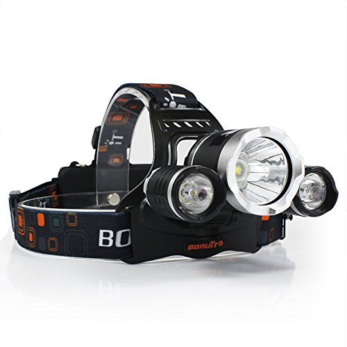Boruit RJ-5000 3X XM-L2 T6 LED 4 Modi Micro USB Output LED stirnlampe, Super Bright 5000 Lumen Kopflampe mit Wiederaufladbaren Batterien, USB Ladekabel für Camping, Wandern, Lesen, Fahrrad, Angeln Led Lumen Output
