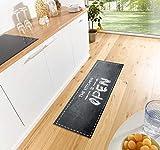 Waschbarer Küchenläufer Kitchen is open Schwarz Grau Weiߟ 50x150 cm