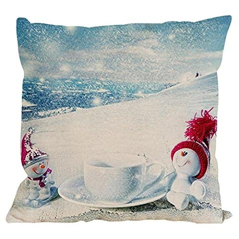 SetMei Hayyp Weihnachten Weihnachten Schneemann Zug Baumwoll- und Leinen-Kissenbezug,Mehrfarbig,45*45cm (Wie Begann Weihnachten)