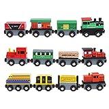 JAGENIE 12Holz magnetisch Tank Mini Züge Spielzeug Kinder Geschenke Spiel Funny Creative