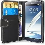 Gadget Giant - Funda tipo libro para Samsung Galaxy Note 2, N7100 GT y N7100 (piel sintética, tarjetero, incluye 3 protectores de pantalla LCD), color negro