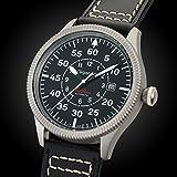 Gigandet Automatik Herren-Armbanduhr Red Baron I Fliegeruhr Uhr Datum Analog Lederarmband Schwarz G8-005 - 3