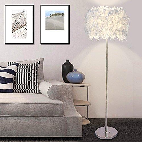 ELINKUME Stehleuchte, weiße Federn LED Stehleuchte, Simple Modern Style LED Wohnzimmer Lampe (6W, weiß, Pedal-Schalter, warmes Licht E27-Halter) (Pole-licht-schalter)