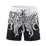 Ocean Plus Uomo Estiva Hawaii Stampa 3D Pantaloncini Con Coulisse Da Bagno Protezione UV Surf Mare Da Spiaggia Pantaloncini, polpo, XL