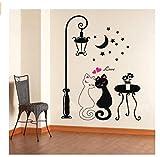 Hemore Wandaufkleber Dekoration Aufkleber von Beliebte Haus Wasserdichte Muster Katzen Schwarz und Weiß unter Straßenlaterne Wand Sticker