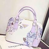 Ouneed Women Shoulder Bag Fashion Flower Printed Leather Handbag Shoulder Messenger Bag Large Tote (Purple)