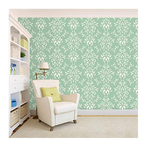 100Yellow? Floral Theme Green Color Printed Self Adhesive Peel & Stick Waterproof Wallpaper Home Room Decor