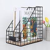 Metall-zeitschriftenhalter, Magazin-aufbewahrungsbox Metalldraht netz rack Desktop-feilenhalter Eisen Bürobedarf Haushaltswaren-Schwarz B 26.3x17.7x29.5cm(10x7x12inch)