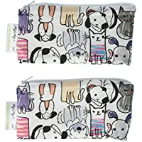 Itzy Ritzy Snack Happens Mini Reusable Snack and Everything Bags, Raining Cats and Dogs, Pack of 2